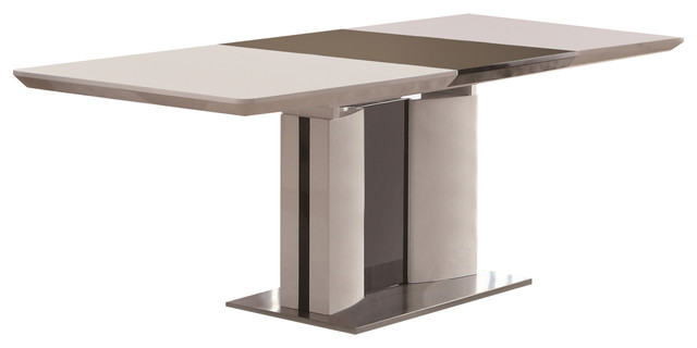 e4635ed81e2b1 Coaster Broderick Contemporary White Rectangular Dining Table With Chrome  Base