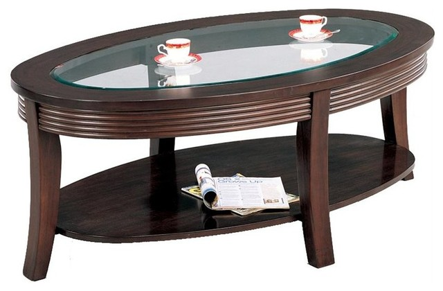 Coaster Simpson Coffee Table With Glass Top In Cappuccino - Cappuccino coffee table