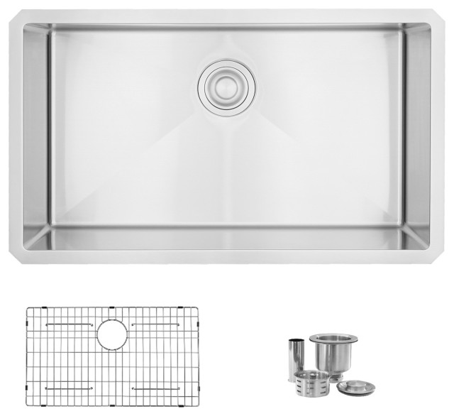 32L x 18W-inch Undermount Single Bowl 16 Gauge Stainless Steel Kitchen Sink with