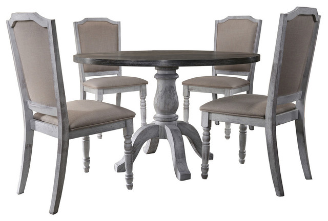 5 Pieces Rustic White Farmhouse Style Dining Set