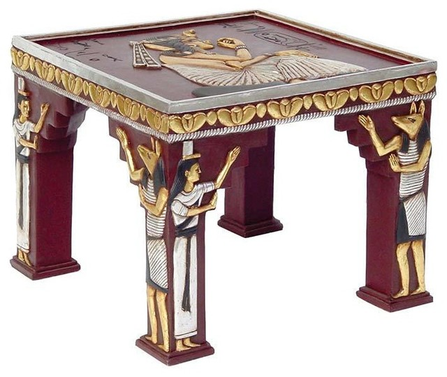 Ancient Egyptian Sculptural Ornamental Collectible Side Table  Traditional Side Tables And End