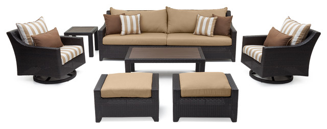 Fine Deco Deluxe 8 Piece Sofa And Motion Club Chair Set Sunbrella Beige Caraccident5 Cool Chair Designs And Ideas Caraccident5Info