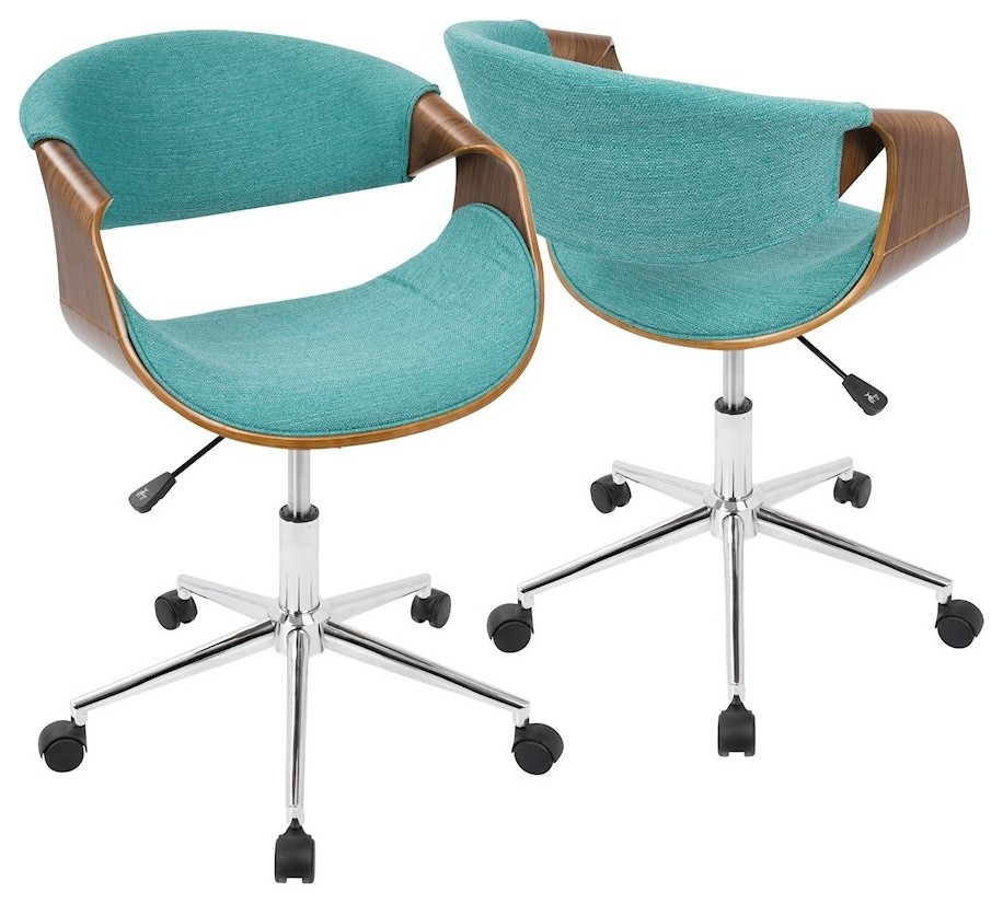 Lumisource Curvo Mid Century Modern Office Chair Walnut Contemporary Office Chairs By Shopfreely