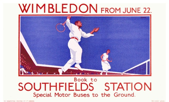 Wimbledon Tennis Old Travel Poster reproduction