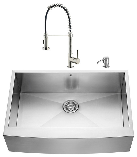 vigo farmhouse stainless steel kitchen sink and faucet set 33 contemporary kitchen - Kitchen Sink And Faucet Sets