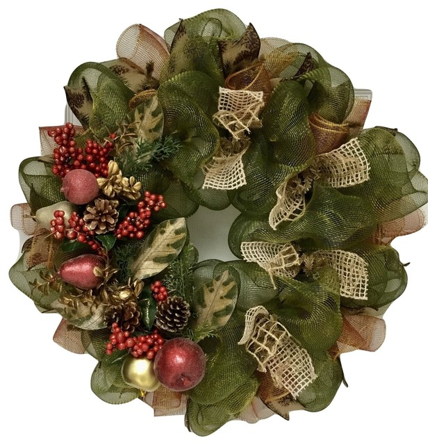 sugar fruit with pine cones and berries deco mesh christmas wreath - Deco Mesh Christmas Wreath