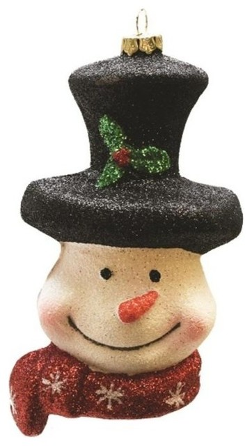 Christmas Top Hat Ornaments.5 Merry And Bright Snowman Head With Top Hat And Scarf Christmas Ornament