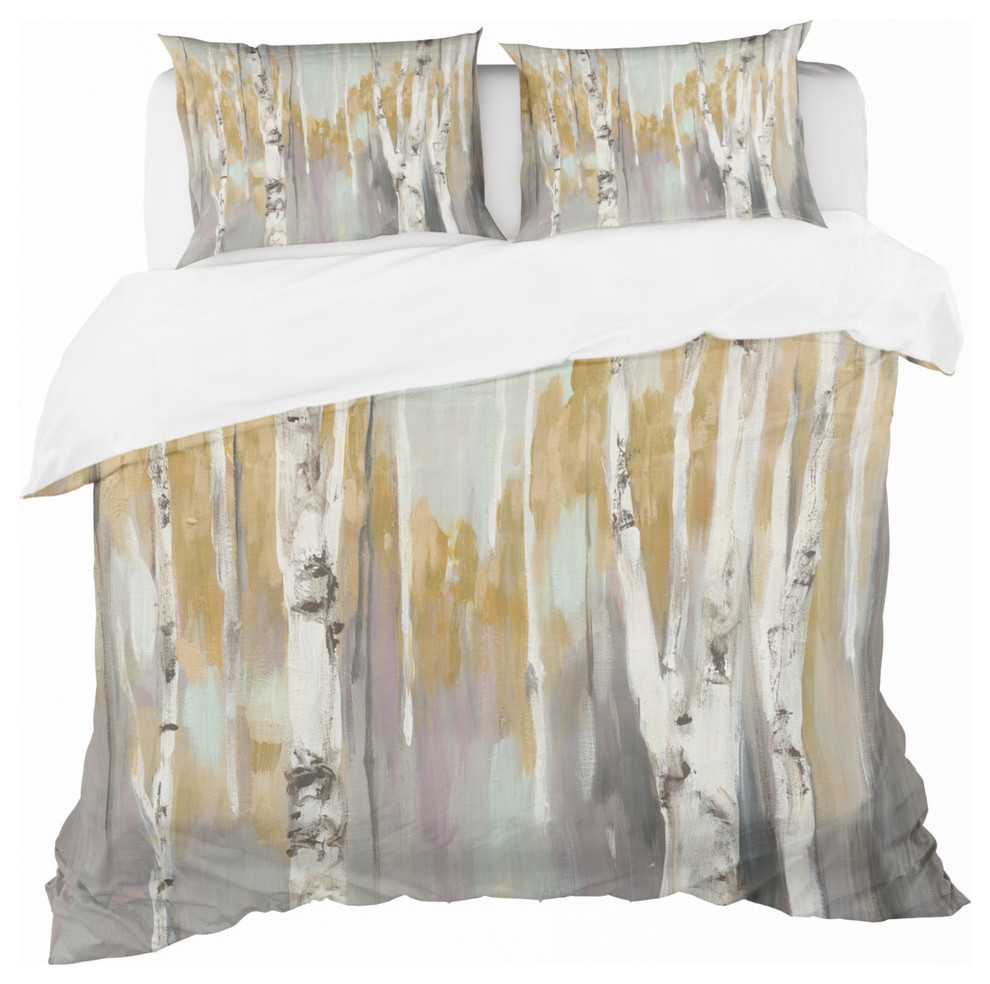 Silver And Yellow Birch Forest Ii Duvet Cover Set Contemporary Duvet Covers And Duvet Sets By Design Art Usa