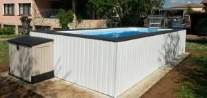 Piscine fuori terra con rivestimento personalizzato - Realizzazione rivestimento esterno piscina fuori terra ...