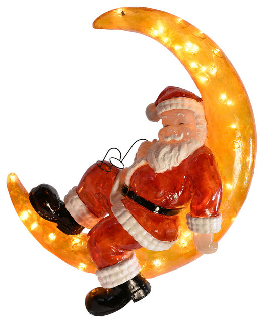 Led Santa On The Moon Traditional Outdoor Holiday
