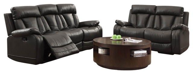 Homelegance Ackerman 2 Piece Double Reclining Living Room Set In Black Leather.