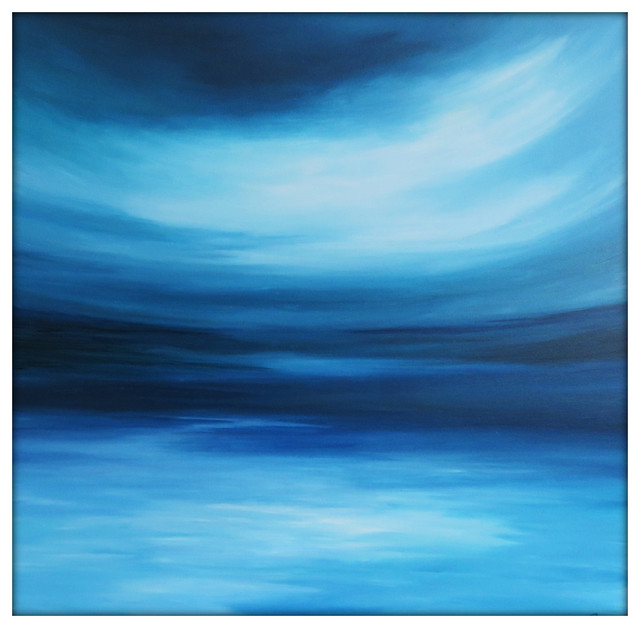 "Large Abstract Painting On Canvas Modern Acrylic Skyline, Blues, Blue Green, 36""."