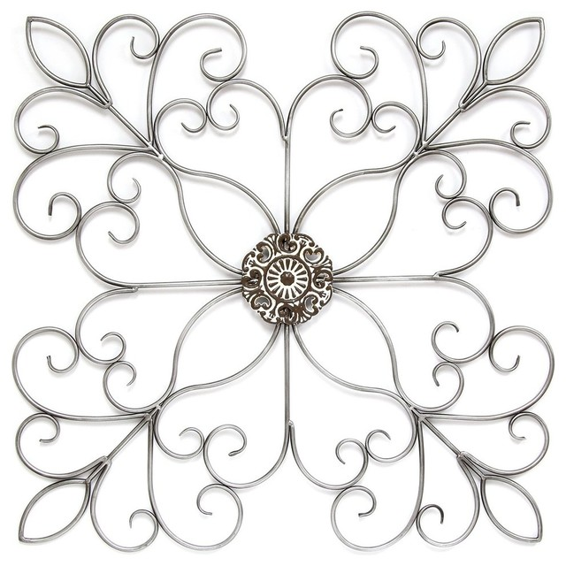 Silver Square Medallion Wall Decor.