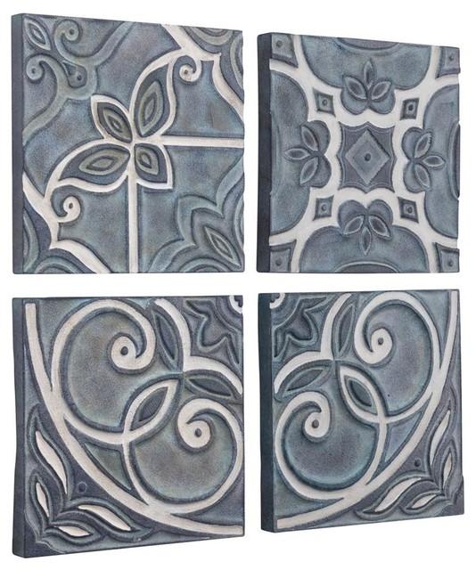 4 Piece Outdoor Tiles Wall Decor Set Blue