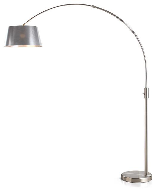 Orbita Arch Floor Lamp, Led, Dimmer, Brushed Nickel Pvc.
