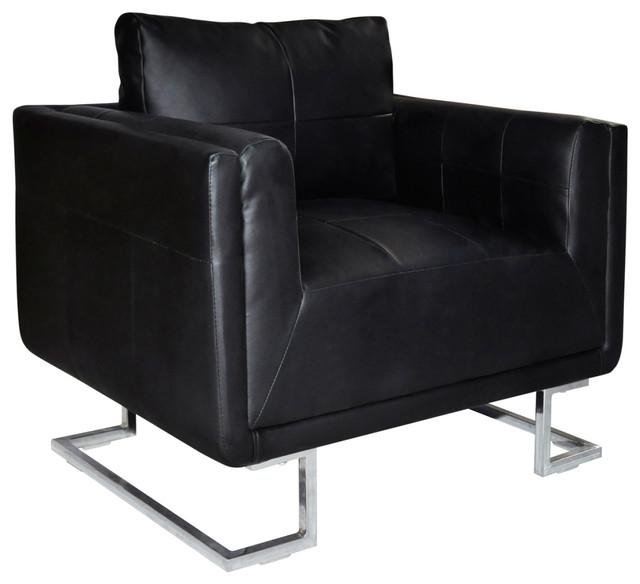 Vidaxl Cube Armchair With Chrome Feet Real Leather Black Luxury