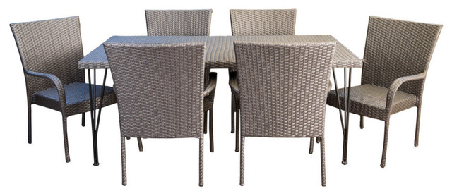 7-Piece Nash Outdoor Gray Wicker Rectangular Dining Set With Stacking Chairs