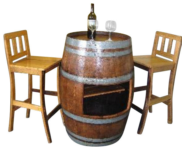 Oak Wood Wine Barrel Bar Table Base With Shelf Opening To
