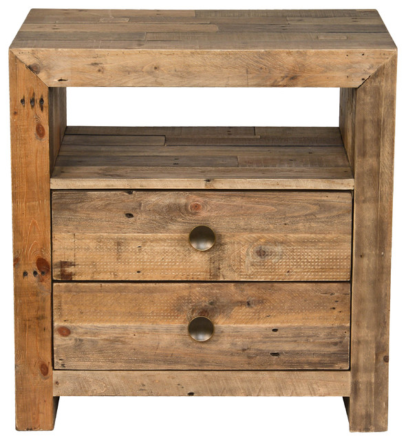 Norman Reclaimed Pine 2 Drawer Nightstand Distressed Natural by Kosas Home