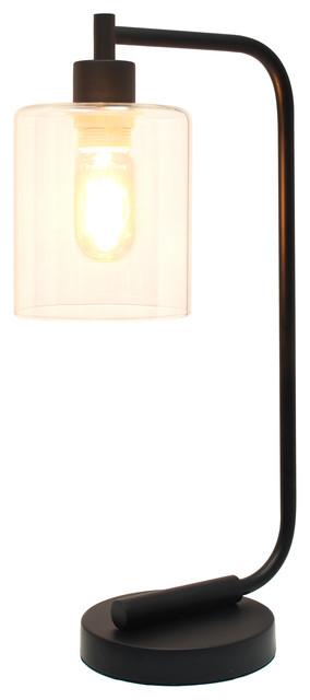 Simple Designs Bronson Industrial Iron Lantern Desk Lamp, Glass Shade, Black.