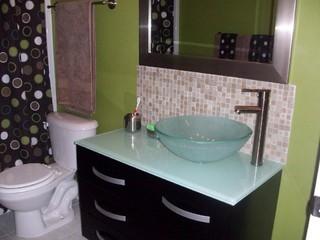 Where to stop tile backsplash for Small bathroom vanity backsplash ideas