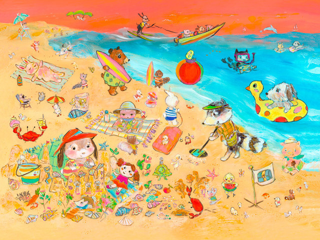 Animals On The Shore Canvas Wall Art 18x14 Beach Style
