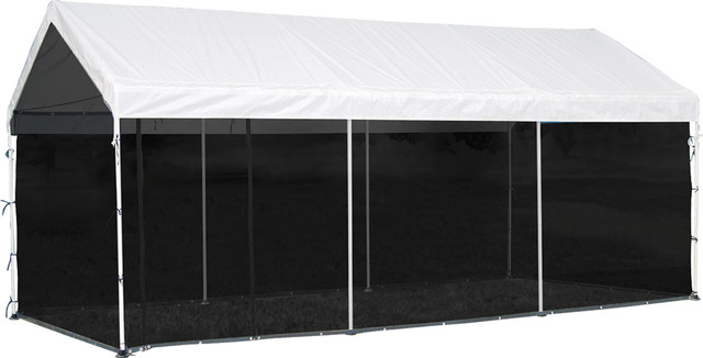 Canopy Screen Enclosure Kit 10 X 20 Ft, Black, Cover And Frame Sold Separately.