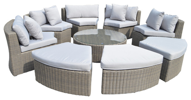 Grand Round 9-Piece Sectional Set.
