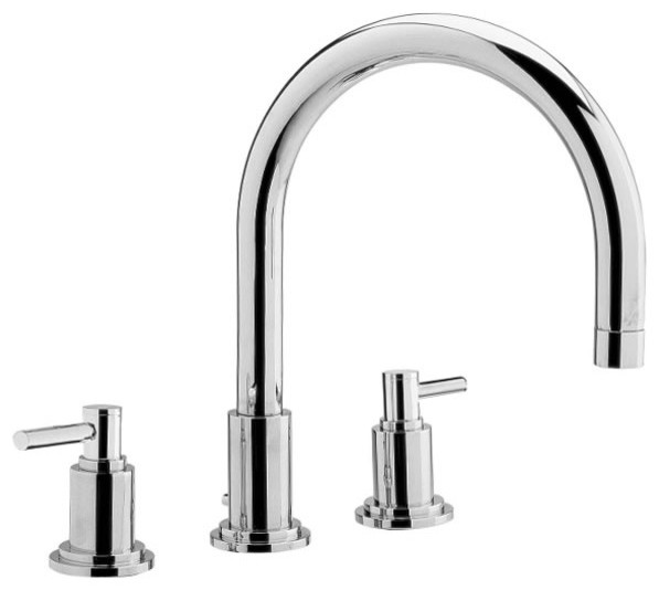 Modern Chrome 3 Hole Bath Filler Faucet Set With Swivel Spout U0026 Lever  Handles