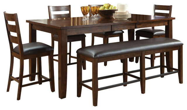 Standard Furniture Abaco 6-Piece Leg Counter Table Set in Tobacco ...