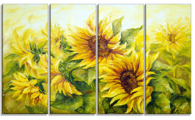 """""""bright Yellow Sunny Sunflowers Floral"""" Painting Canvas Print, 4 Panels, 48""""x28""""."""