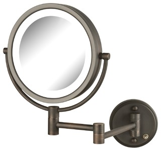 Jerdon 8 5 Quot Led Lighted Wall Mirror With 8x 1x Mag Bronze