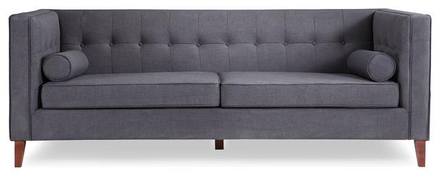 Gentil Jefferson Midcentury Modern Twill Sofa With Wood Legs, Urban Ink