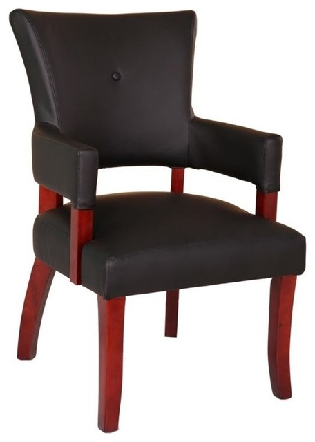 Boss Refined Rustic Guest Chair, Black CaresoftPlus And Mahogany  Transitional Armchairs And