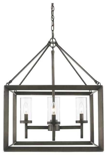 Golden Lighting Smyth 4-Light Chandelier, Clear Glass, Gunmetal Bronze