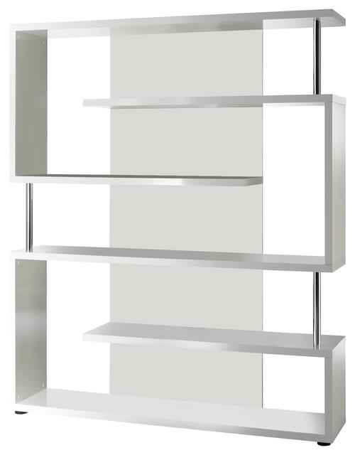 Torero Interlocking White Gloss Chrome Tube Bookcase