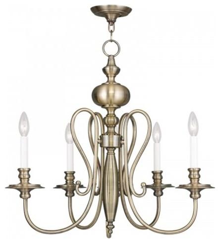 Livex, Caldwell 5-Light Chandelier, Antique Brass