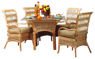 Spice Island 5-Piece Dining Set in Natural, San Remo Fabric