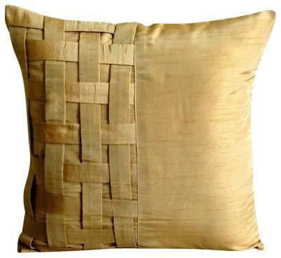 Basket Weave 18x18 Art Silk Gold Decorative Pillow Cover, Gold Brown Bricks.