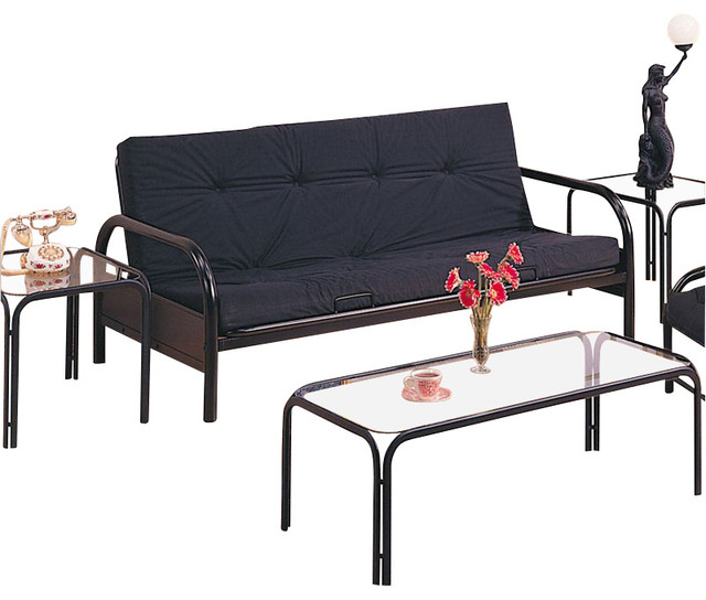 coaster metal full size futon frame with large armrest in black transitional futons