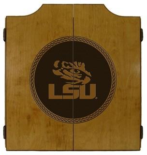 LSU Tigers Laser Engraved Tournament Dart Board Cabinet ...