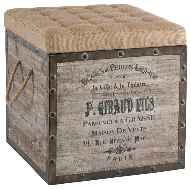Vintage Style Crate Storage Ottoman Farmhouse Footstools And Ottomans
