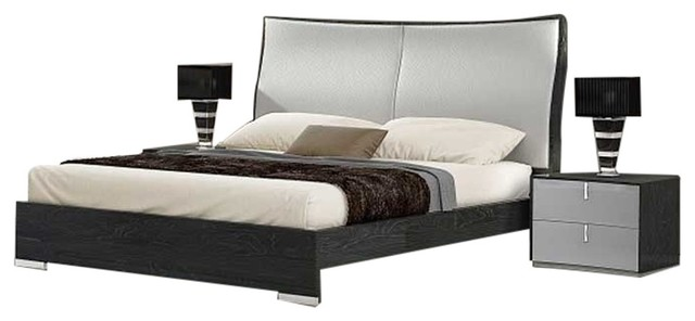 Vera 3 Piece Modern Bedroom Set Black And Gray Contemporary Bedroom Furniture Sets By Bedtimenyc
