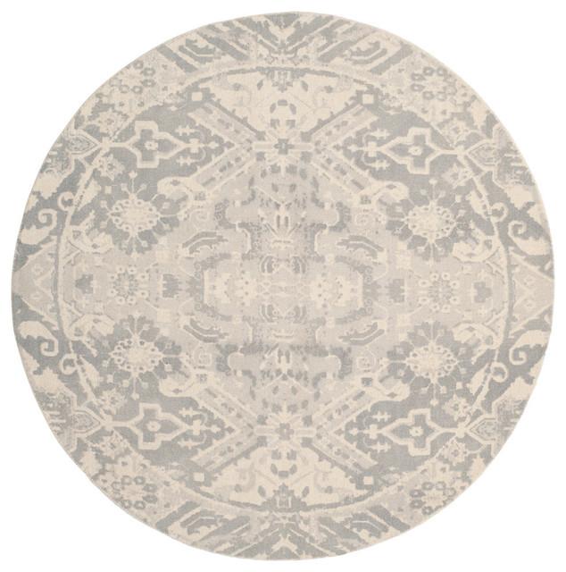 Safavieh Restoration Vintage Area Rug, Light Gray/ivory, 6&x27;x6&x27; Round.