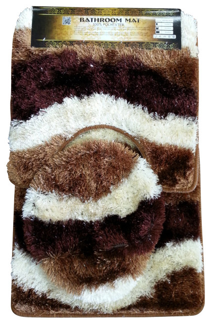 Contemporary Bathroom Mats beige/brown plush bathroom mat 3-pc-set, 100% polyester hand