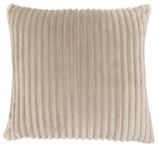 "Pillow, 18""x18"", Beige Ultra Soft Ribbed Style."