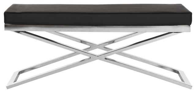 Safavieh Acra Bench, Black And Silver.
