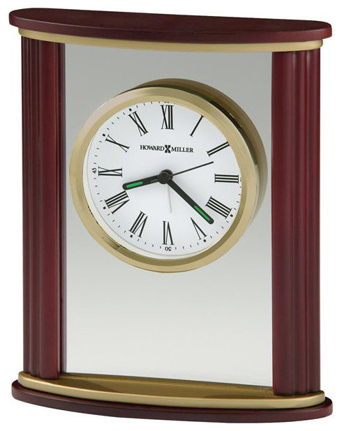 645623 Howard Miller Golden Accent Glass Tabletop Alarm Clock In Rosewood  Frame Transitional Desk
