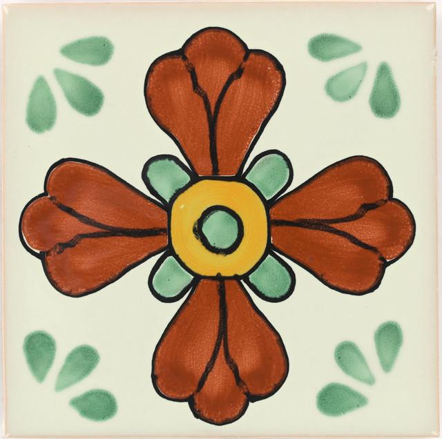 "Tierra y Fuego Handmade Ceramic Tile, 4.25x4.25"" Green Seville, Box of 45"