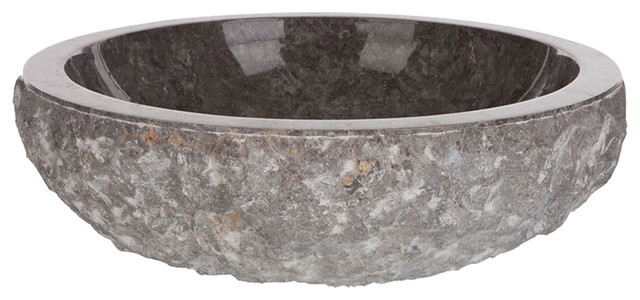 Vasque Import Extra Large Grey Round Marble Vessel Sink